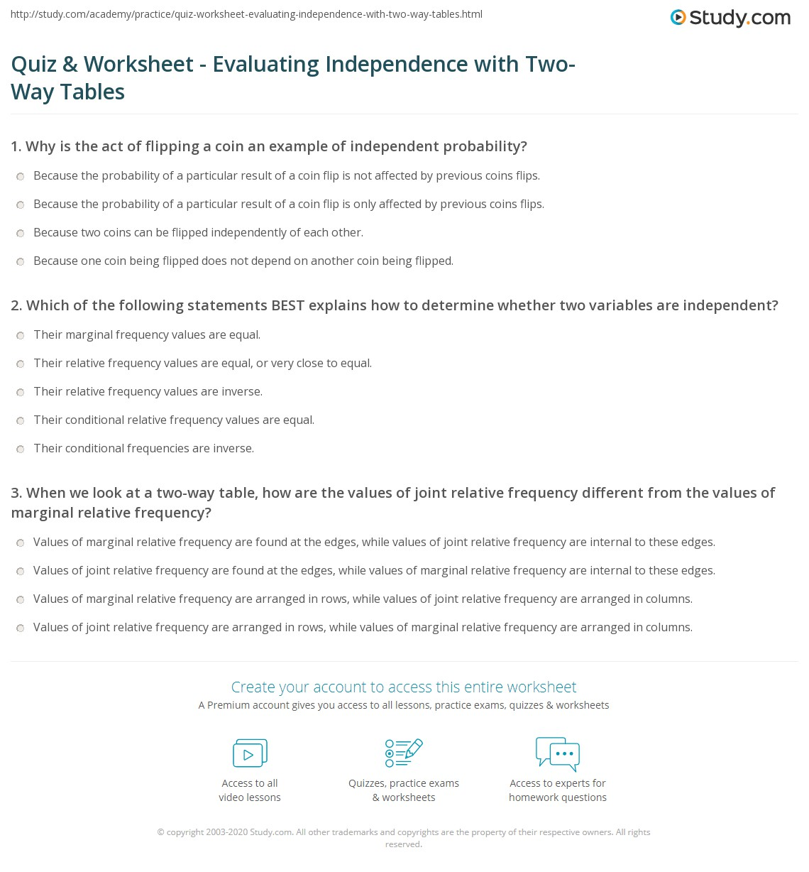 Two Way Tables Independent Practice Worksheet Answers