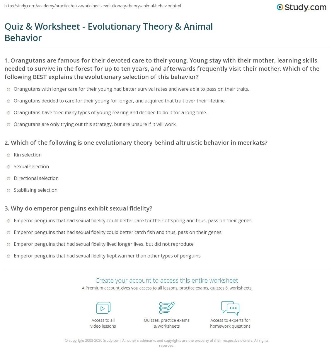 Animal Behavior Worksheets Free