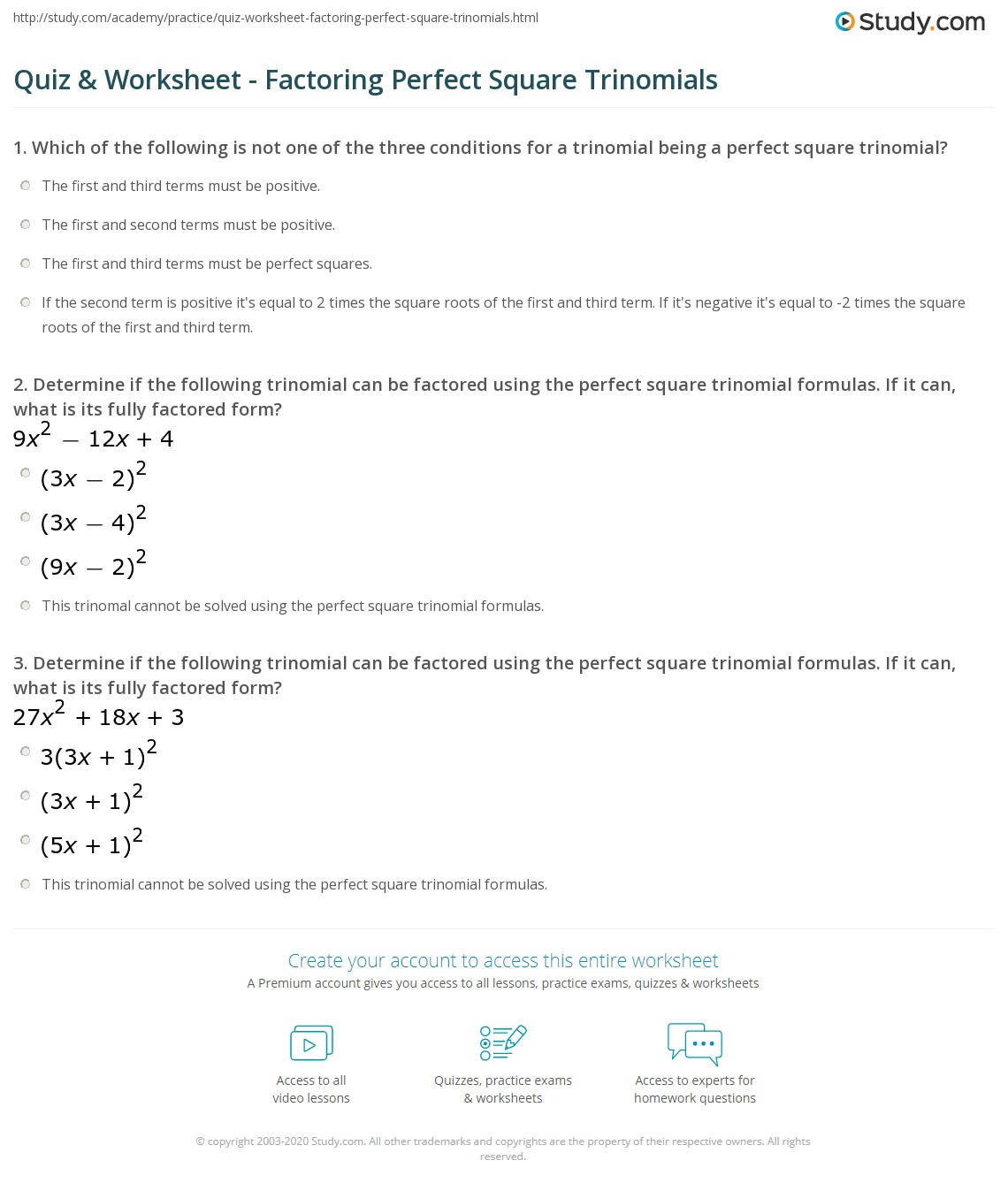 Factoring Trinomials Squares Worksheet