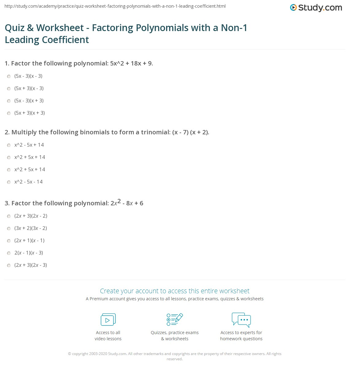 31 Factoring Trinomials Practice Worksheet