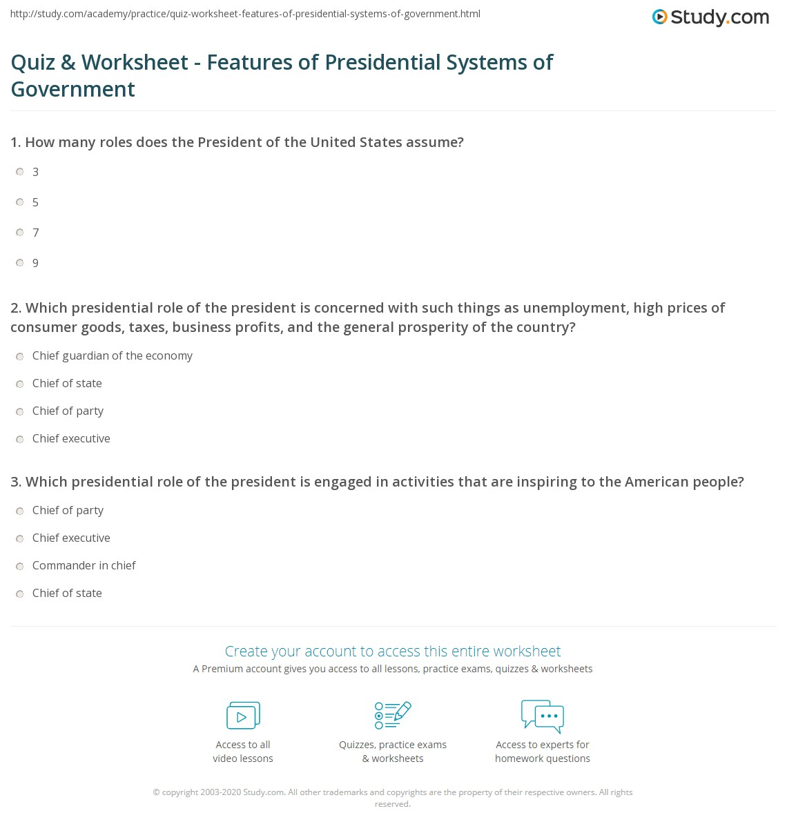 State Government Worksheet
