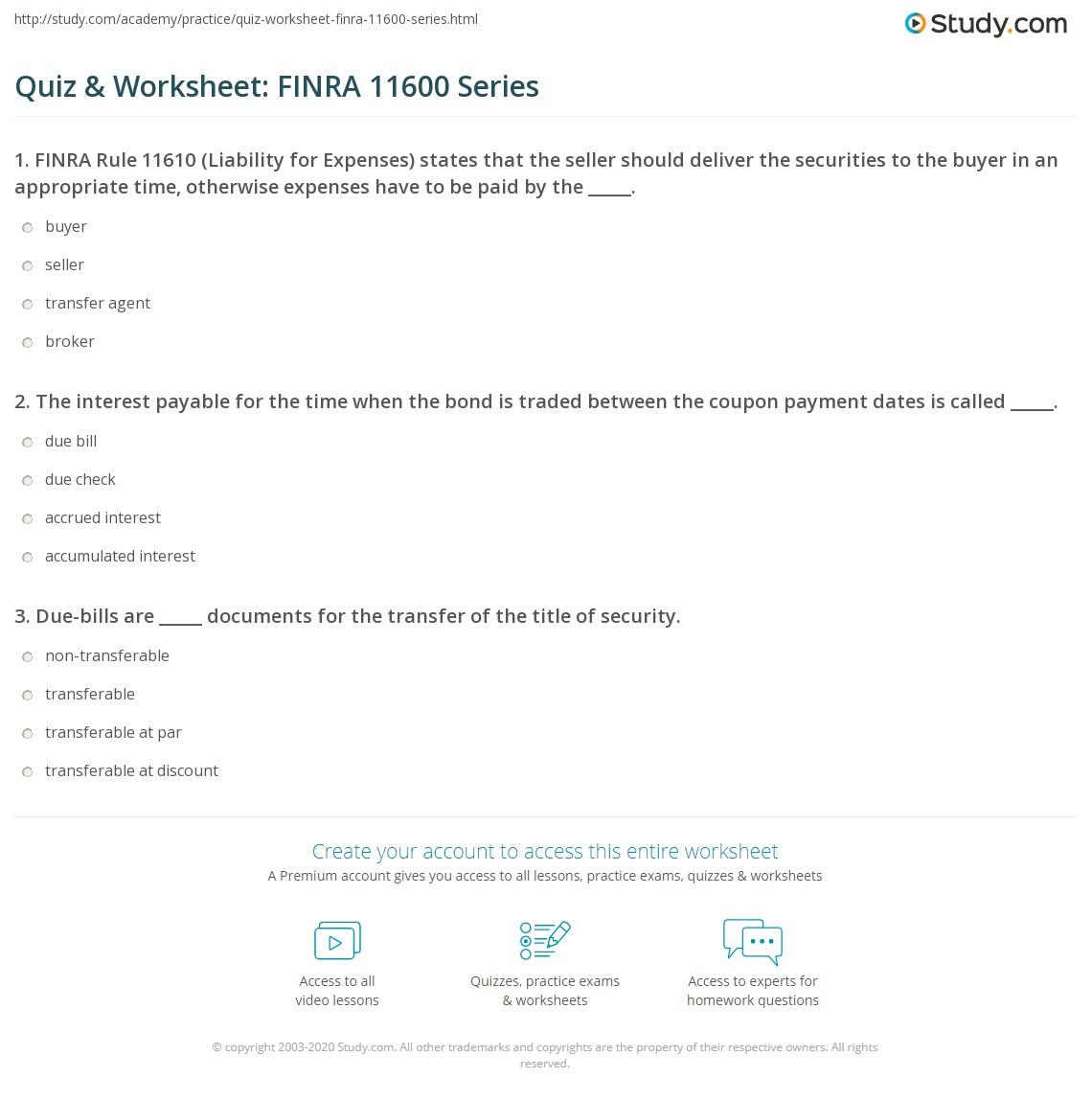 Quiz Amp Worksheet Finra Series