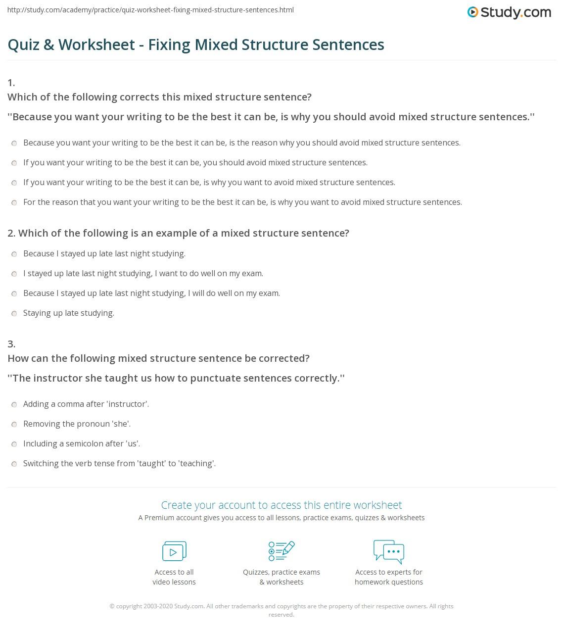 31 Worksheet Sentence Structure Practice