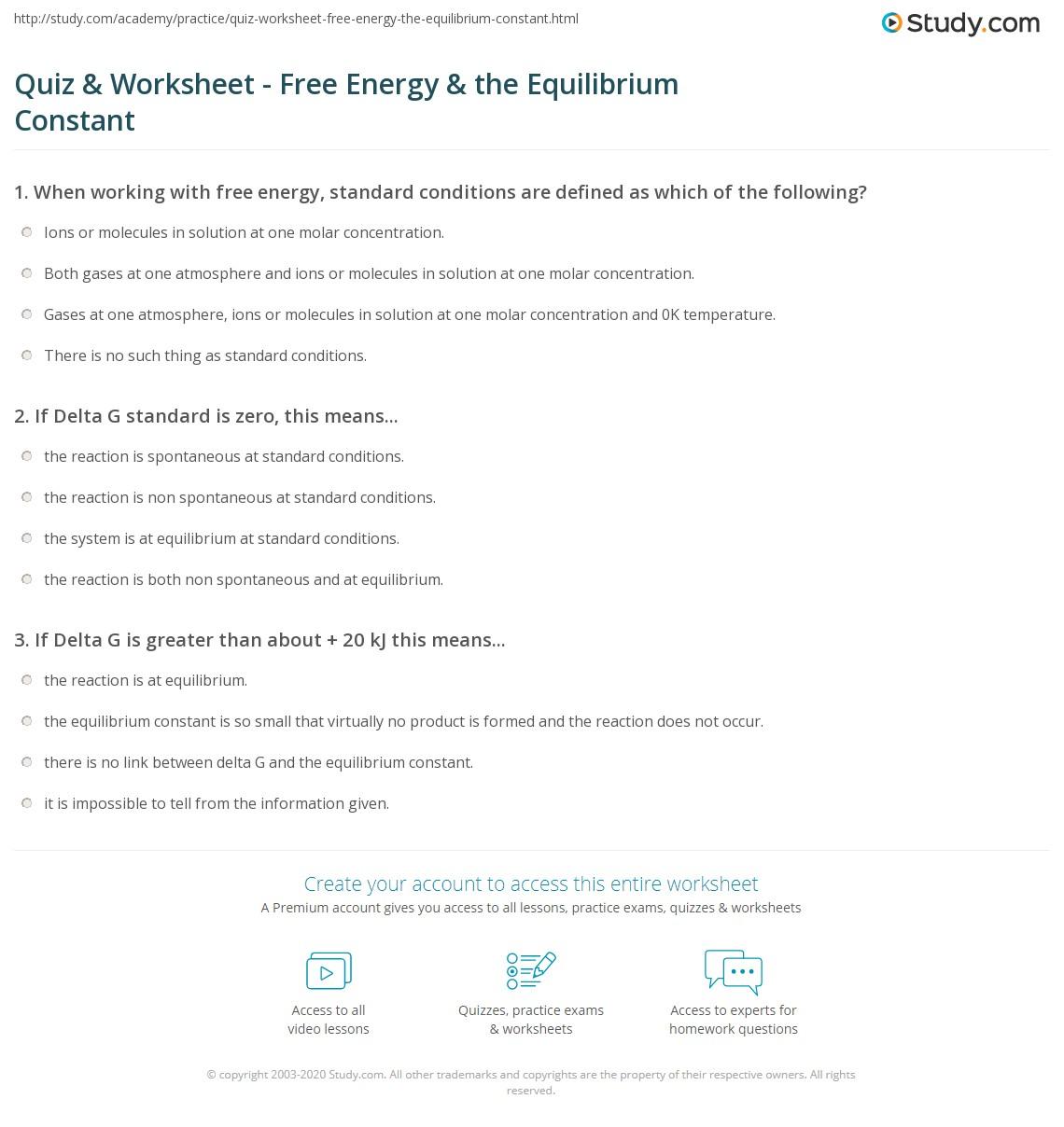Quiz W Ksheet Free Energy Equilibrium C St Nt Study