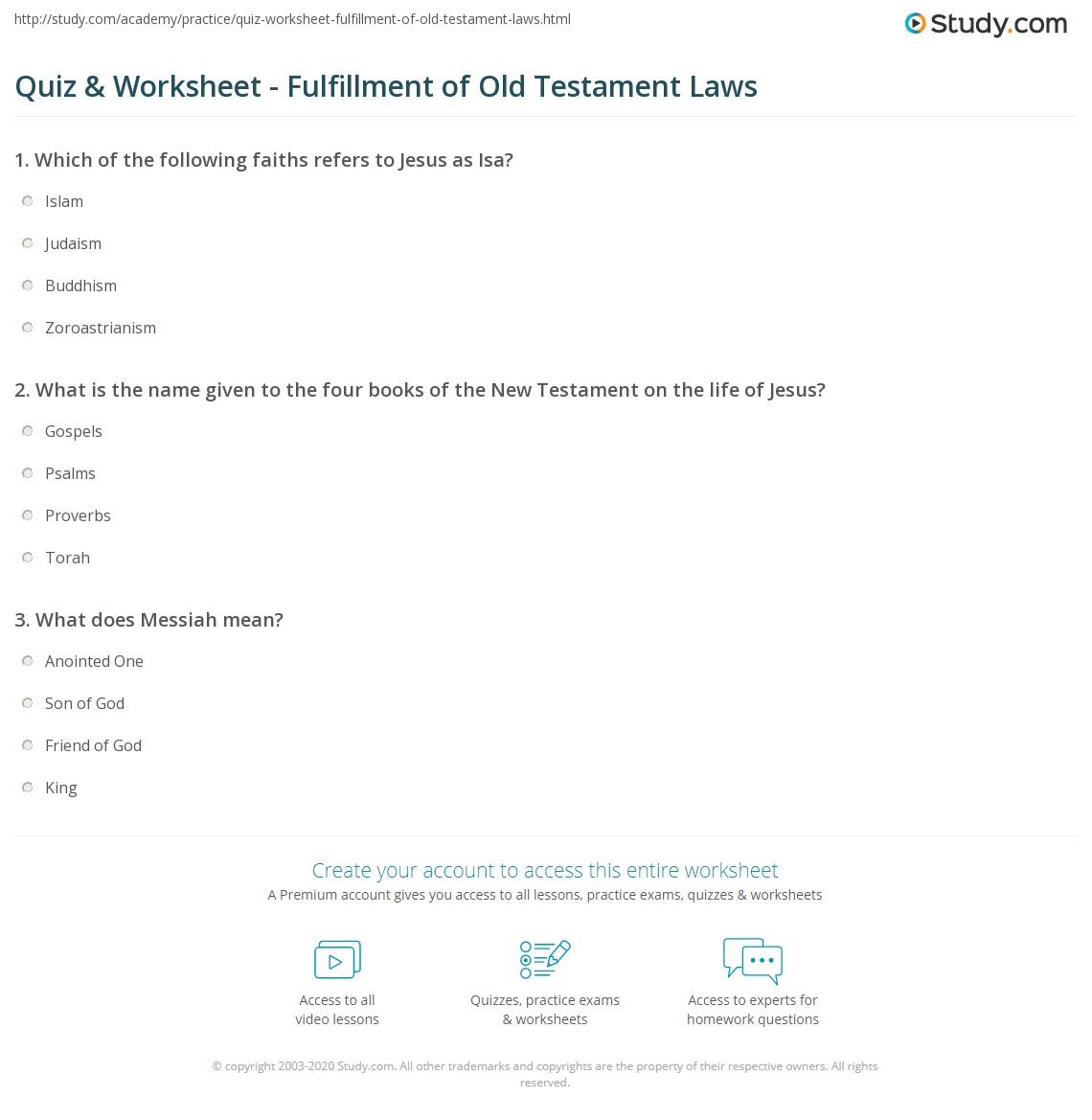 Worksheet New Testament Bible Study