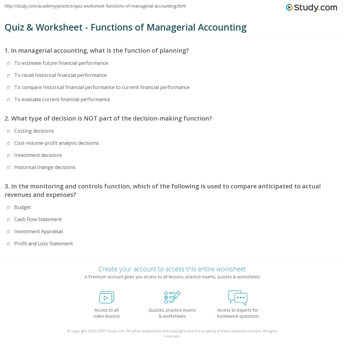 Accounting Worksheet Loss
