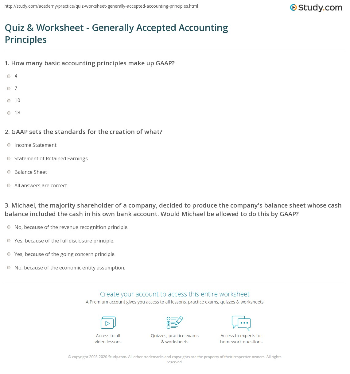 Accounting Worksheet With Answers