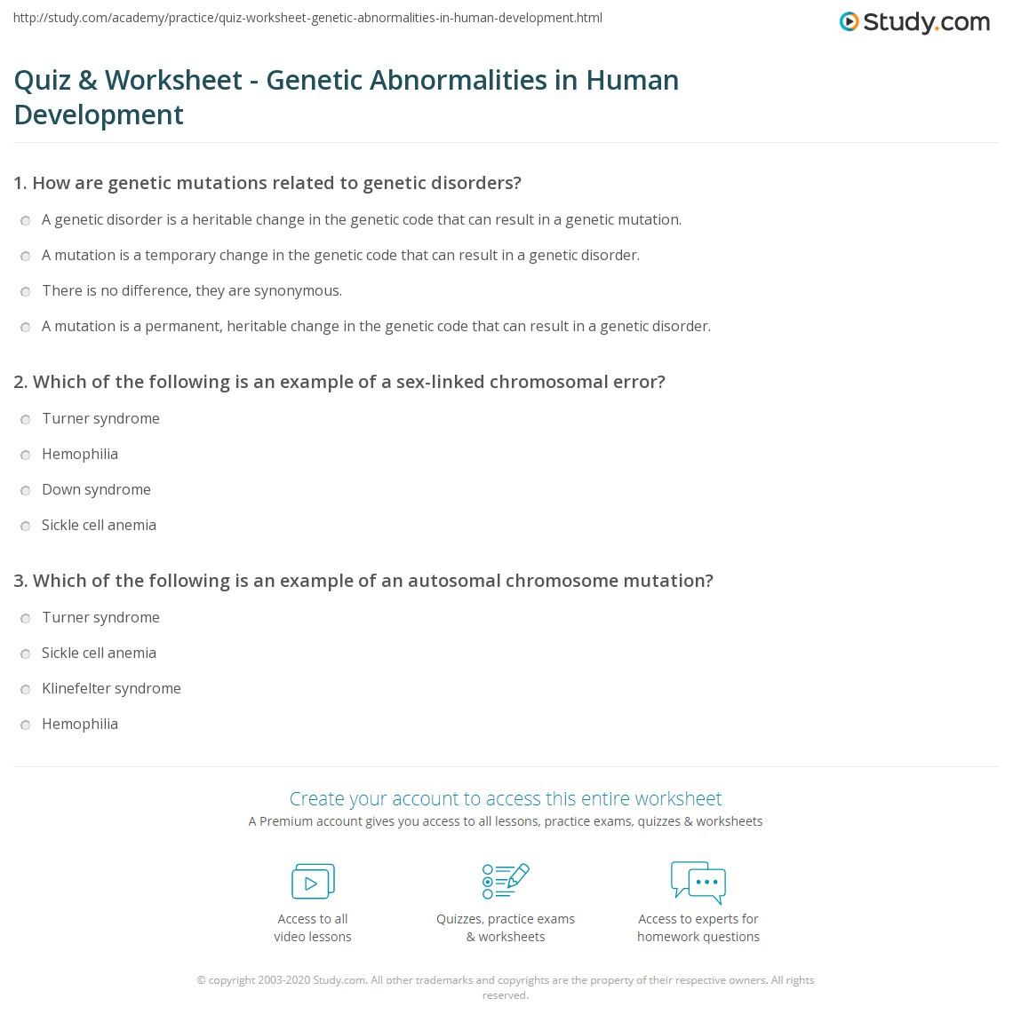 Human Cell Worksheet Matching