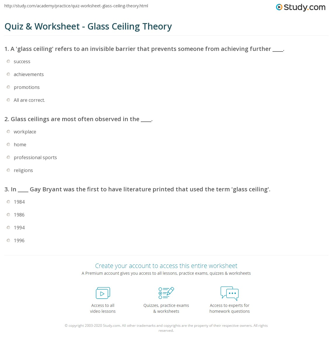 Quiz Worksheet Glass Ceiling Theory Study Com