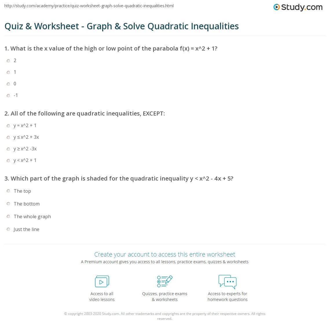 Quadratic Inequalities Worksheet Tes