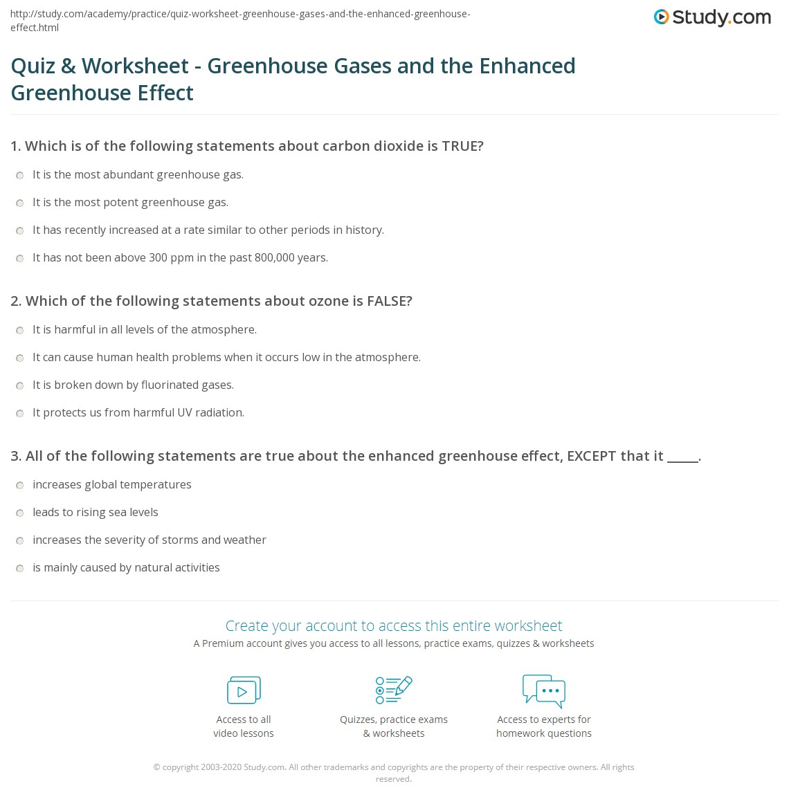 Worksheet On Greenhouse Effect