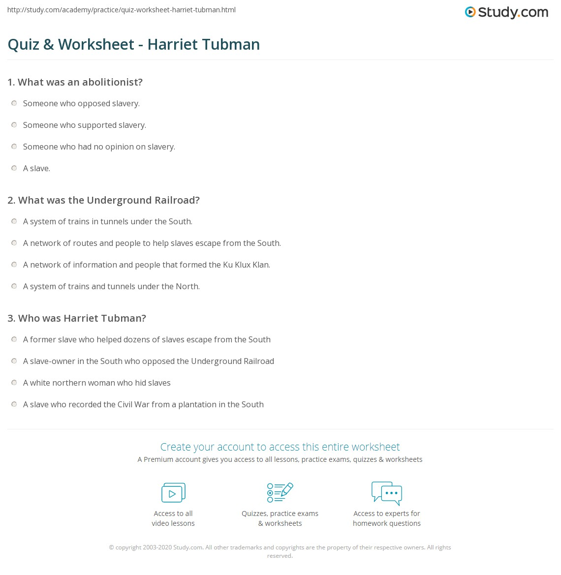 About Harriet Tubman Worksheet