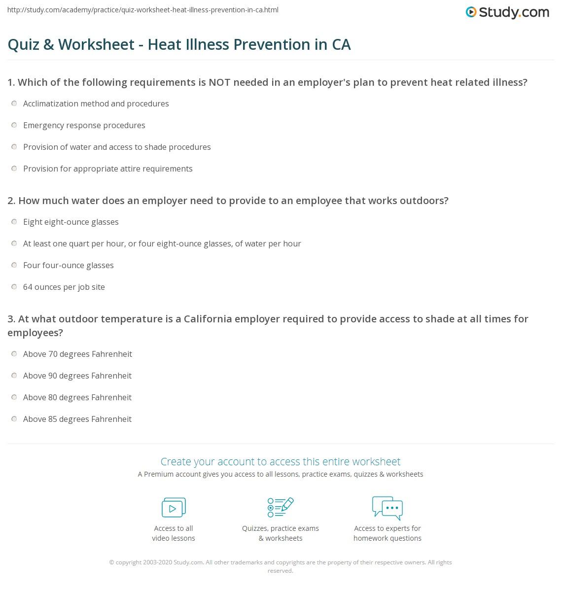 Quiz Worksheet Heat Illness Prevention In Ca Study Com