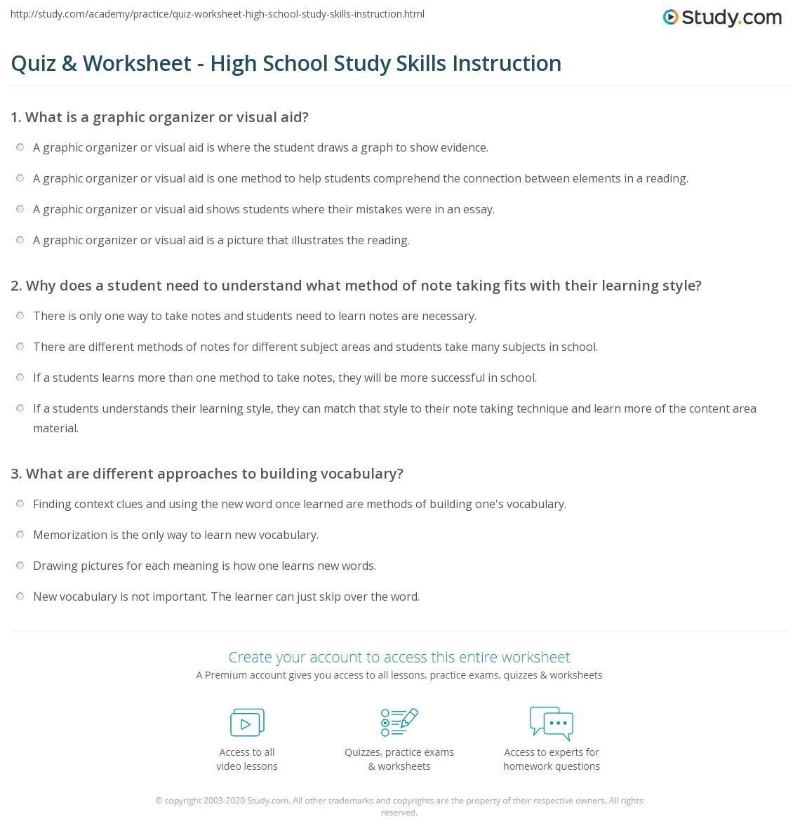 Psychology Aid Worksheets