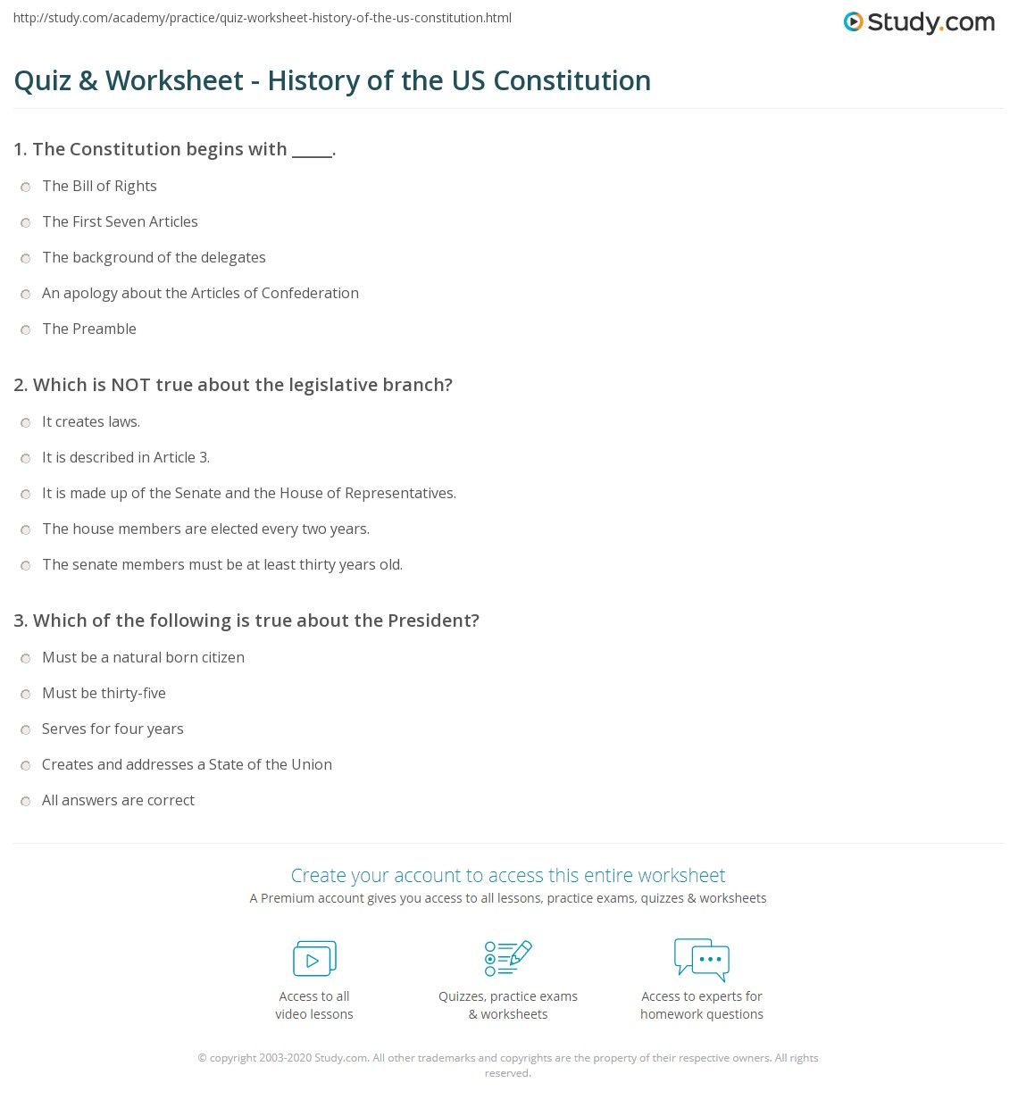 Worksheet About The Constitution
