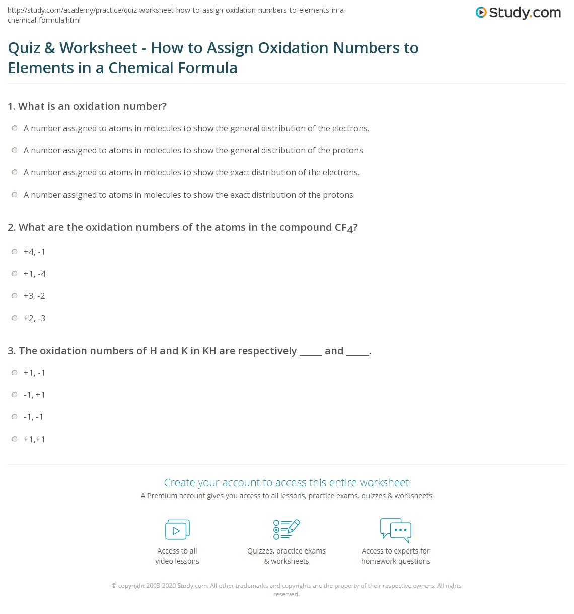 Collection Of Oxidation Numbers Worksheet