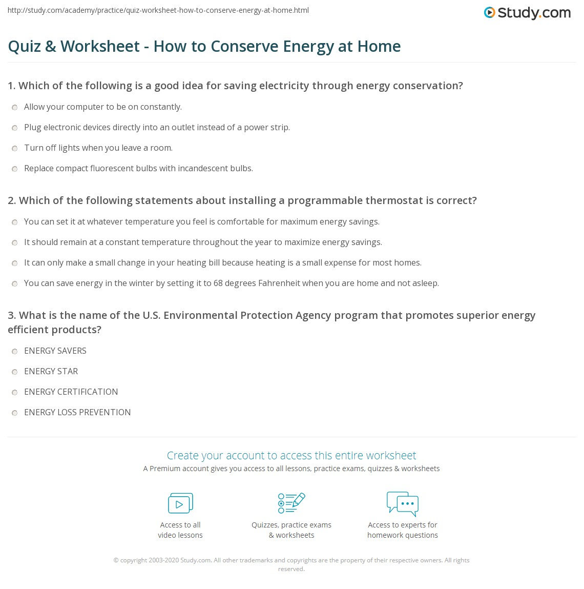 Quiz W Ksheet How To C Serve Energy T Home Study
