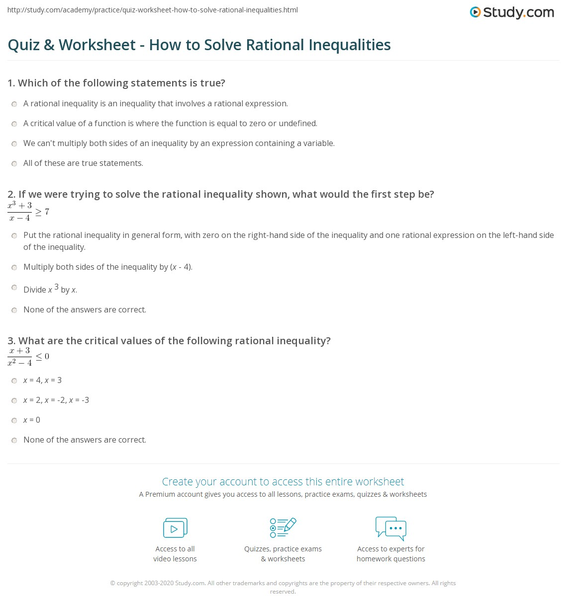 Rational Inequalities Worksheet