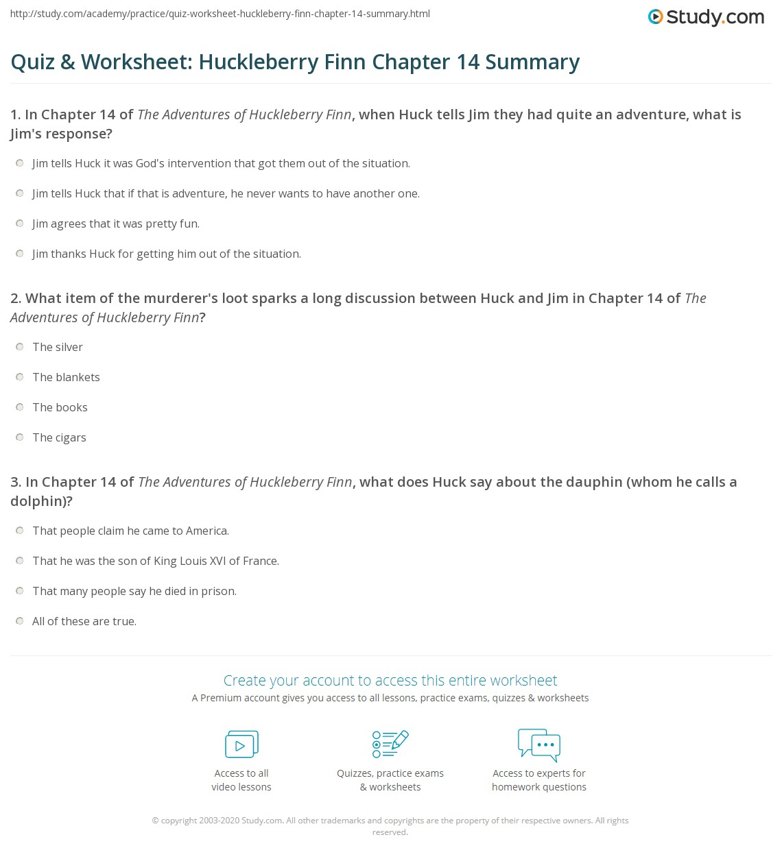 Quiz Amp Worksheet Huckleberry Finn Chapter 14 Summary