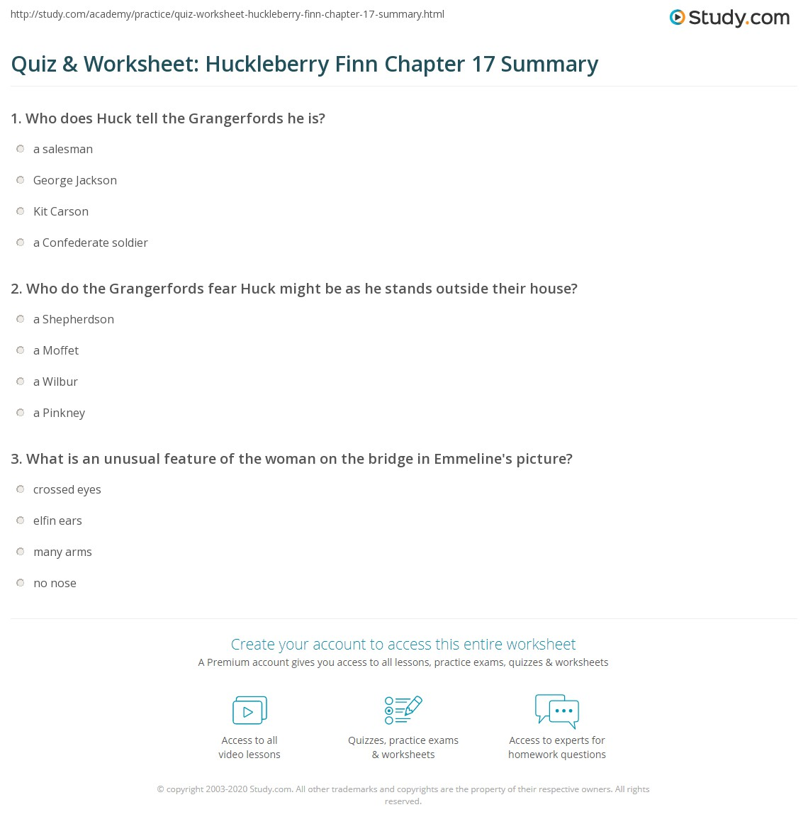 Quiz Amp Worksheet Huckleberry Finn Chapter 17 Summary