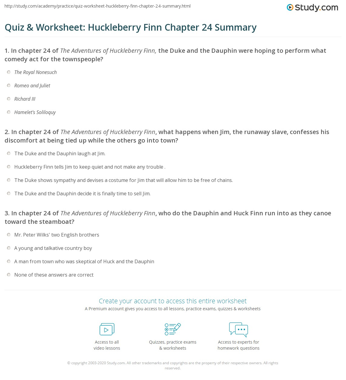 Quiz Amp Worksheet Huckleberry Finn Chapter 24 Summary