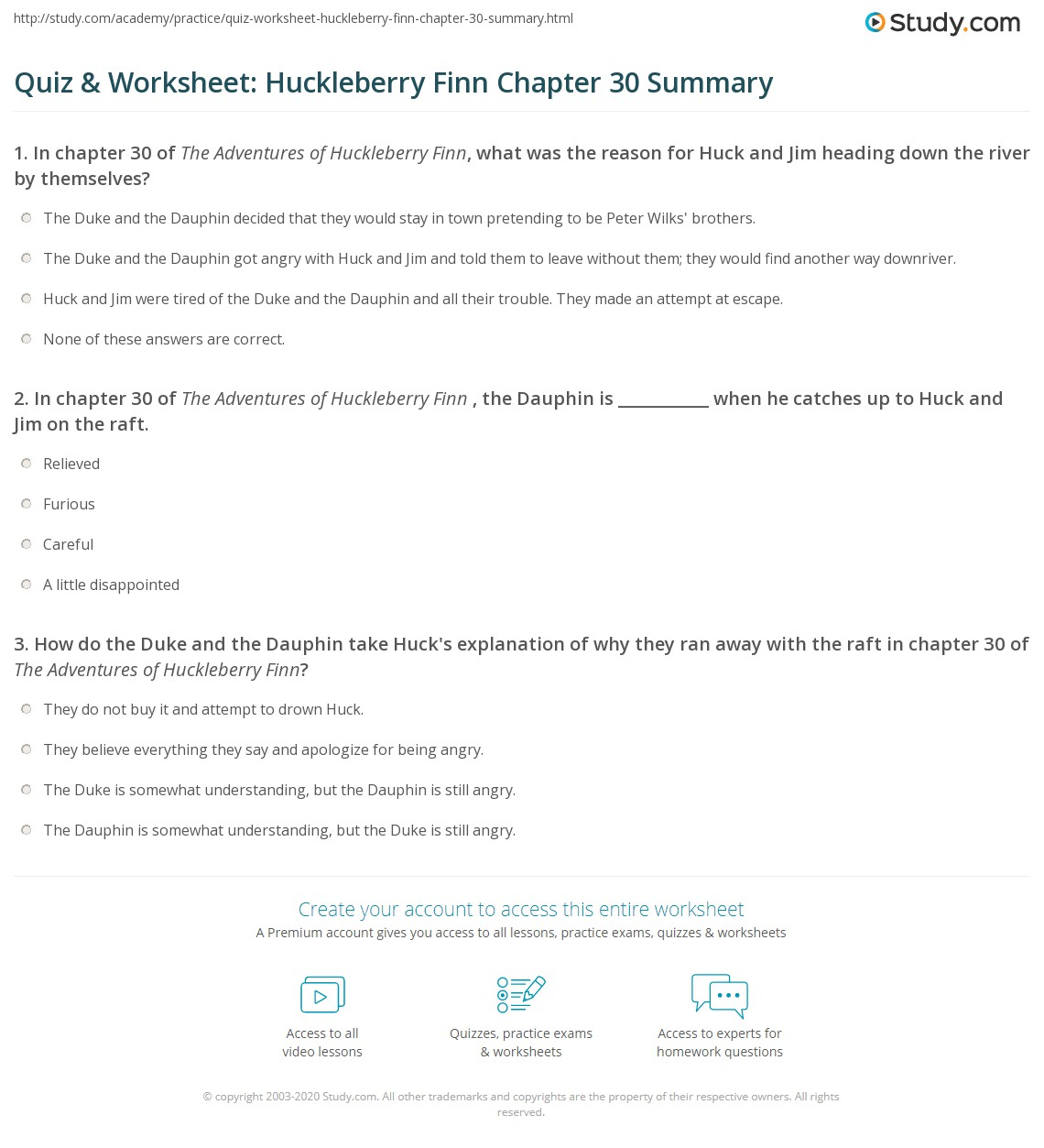 Quiz Amp Worksheet Huckleberry Finn Chapter 30 Summary