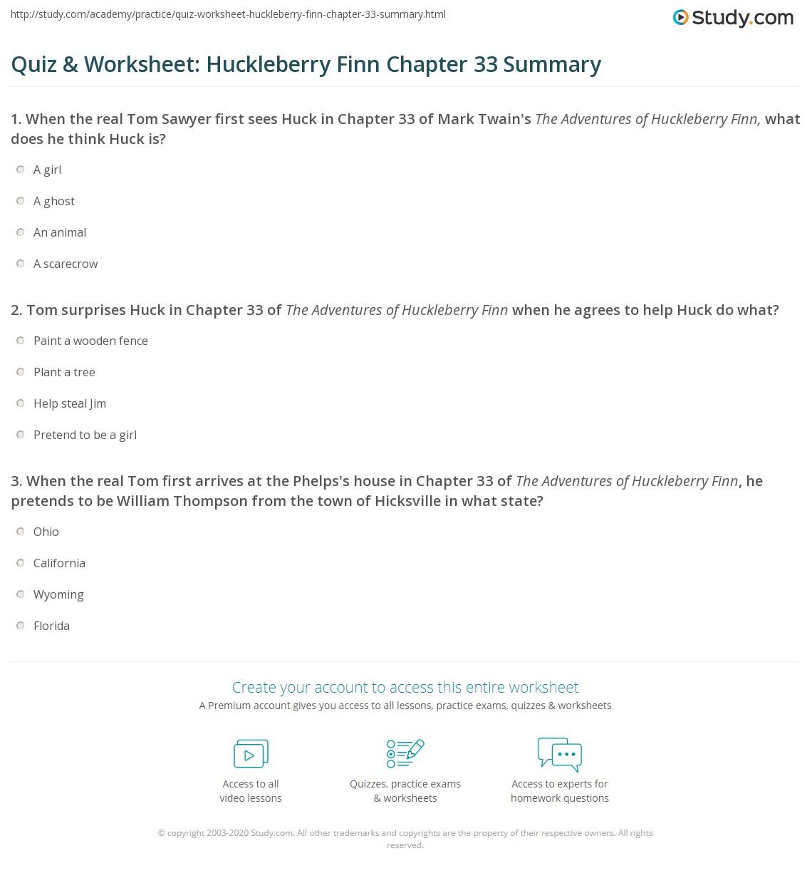 Quiz Amp Worksheet Huckleberry Finn Chapter 33 Summary