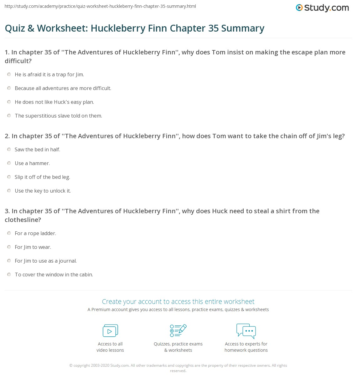 Quiz Amp Worksheet Huckleberry Finn Chapter 35 Summary