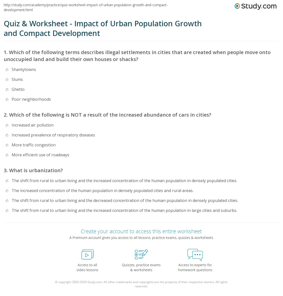Printables Of Urbanization Problems And Solutions