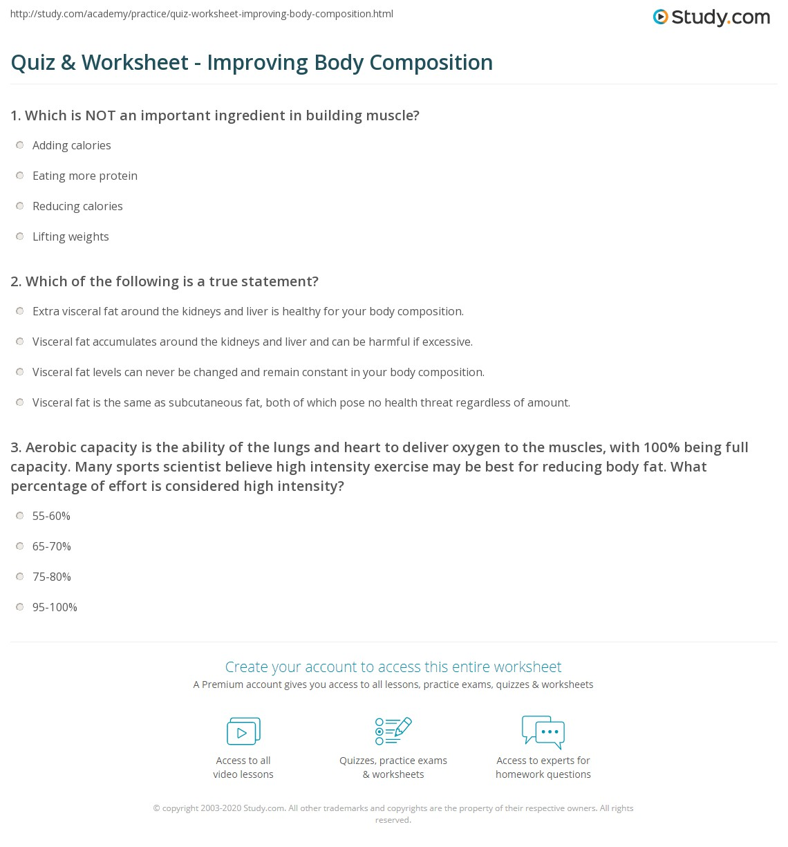 Body Composition Worksheet