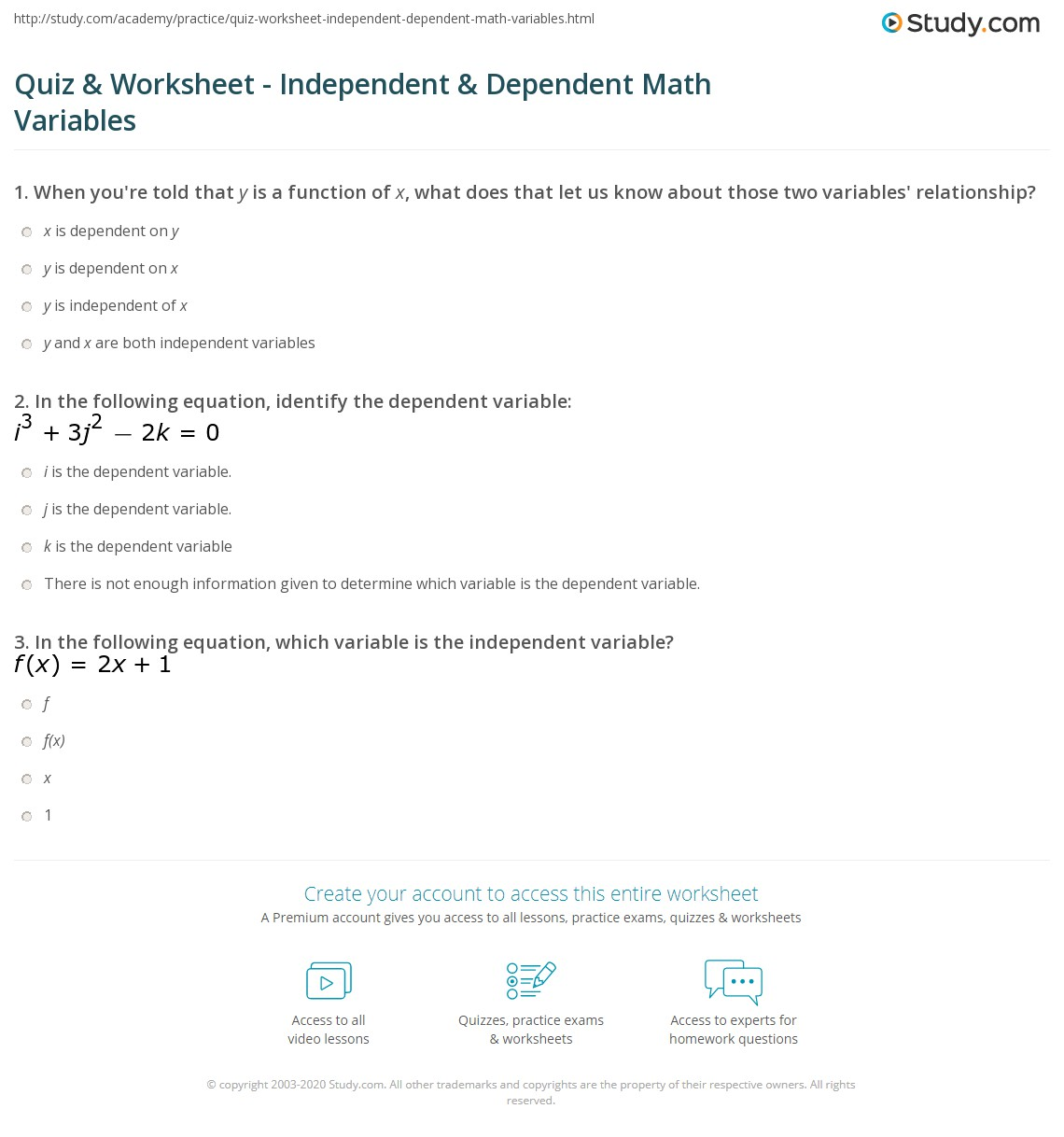 Worksheet Independent Vs Dependent Variables