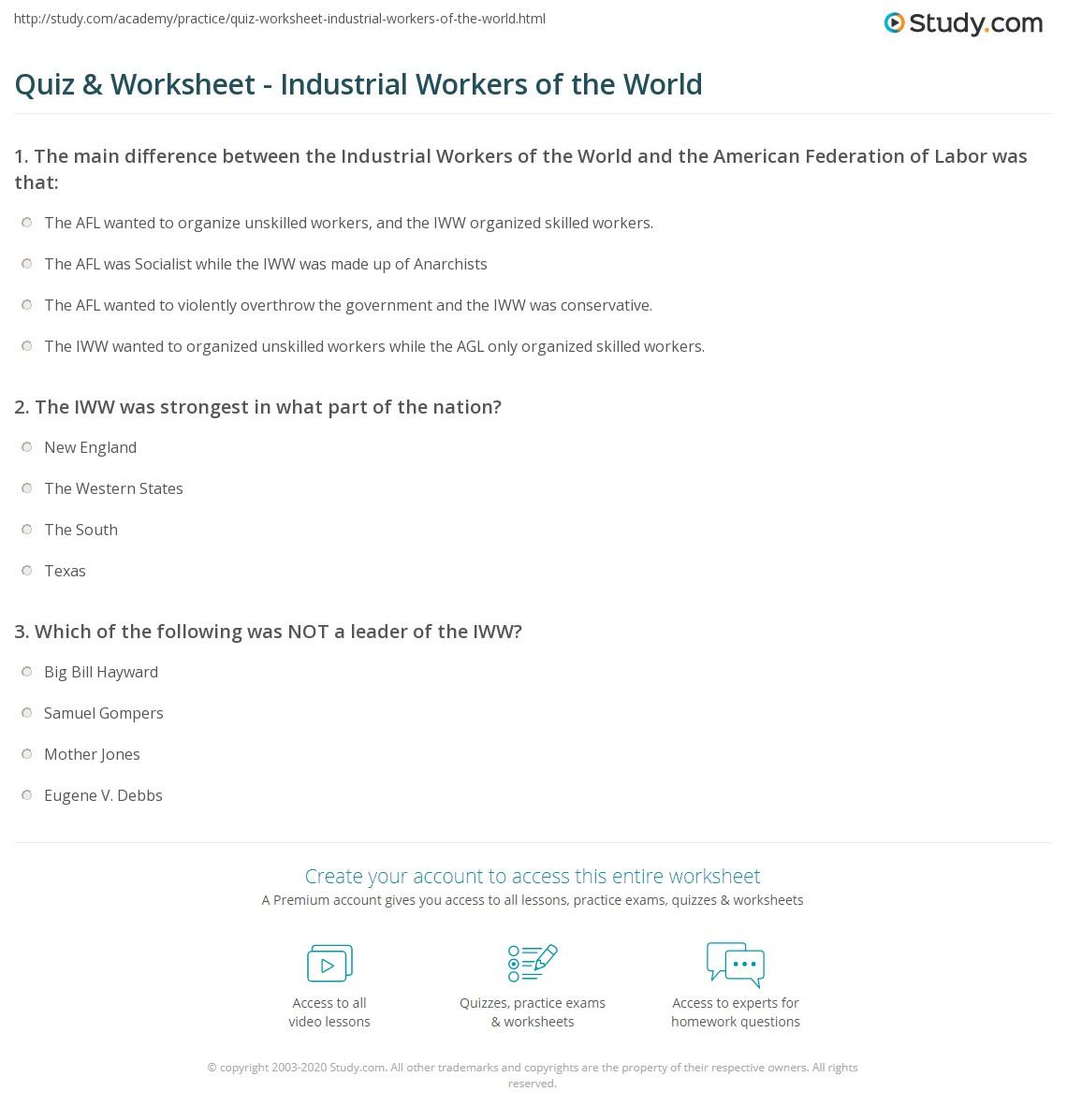 Western States Quiz Worksheet