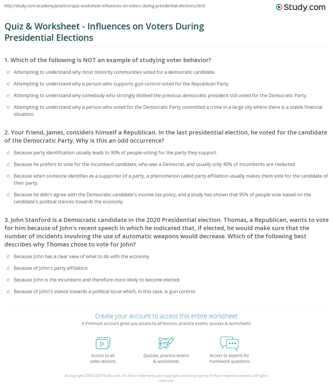 Introducing Presidential Elections Worksheet Answers