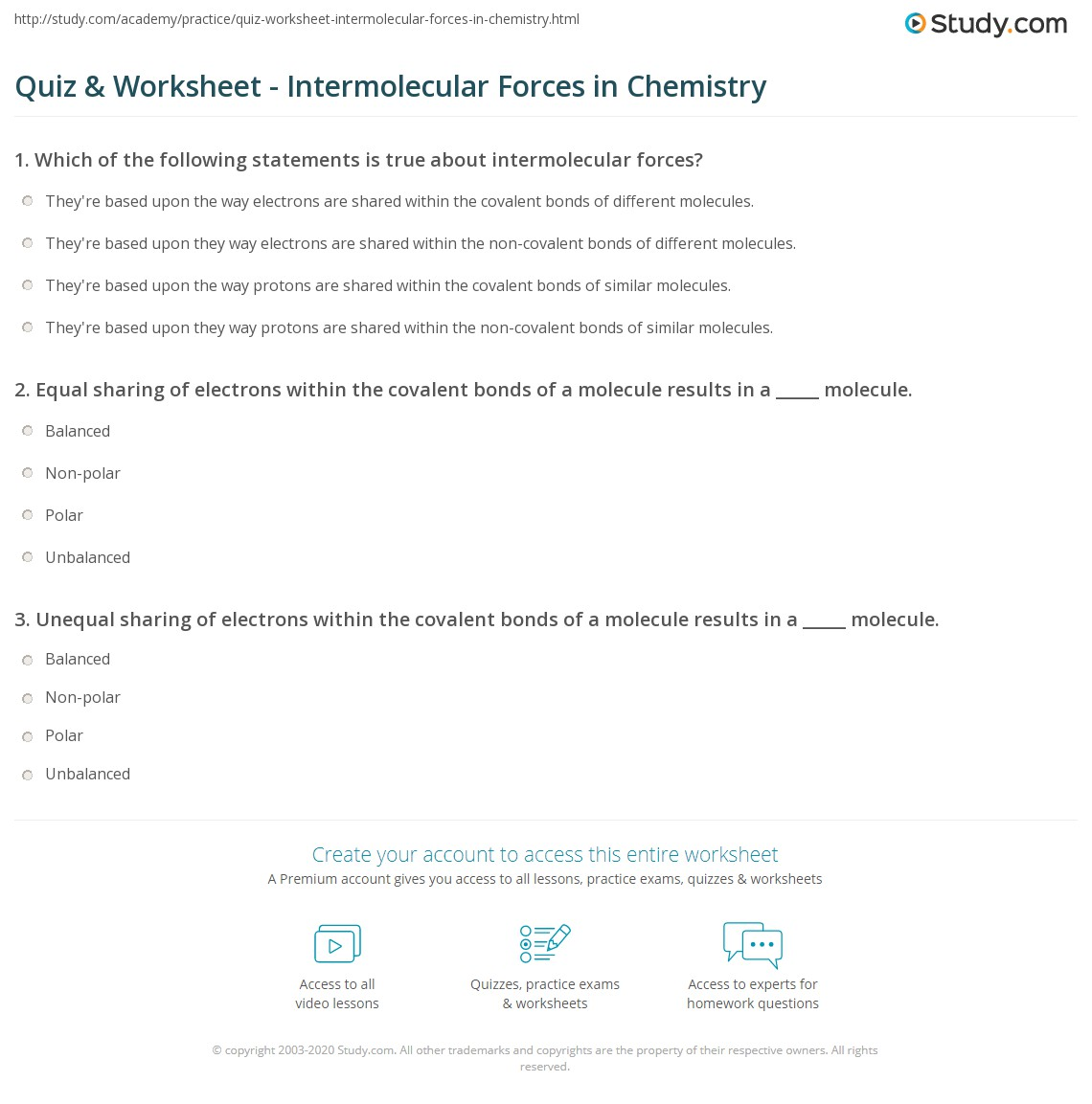 Intermolecular Forces Review Worksheet Answers