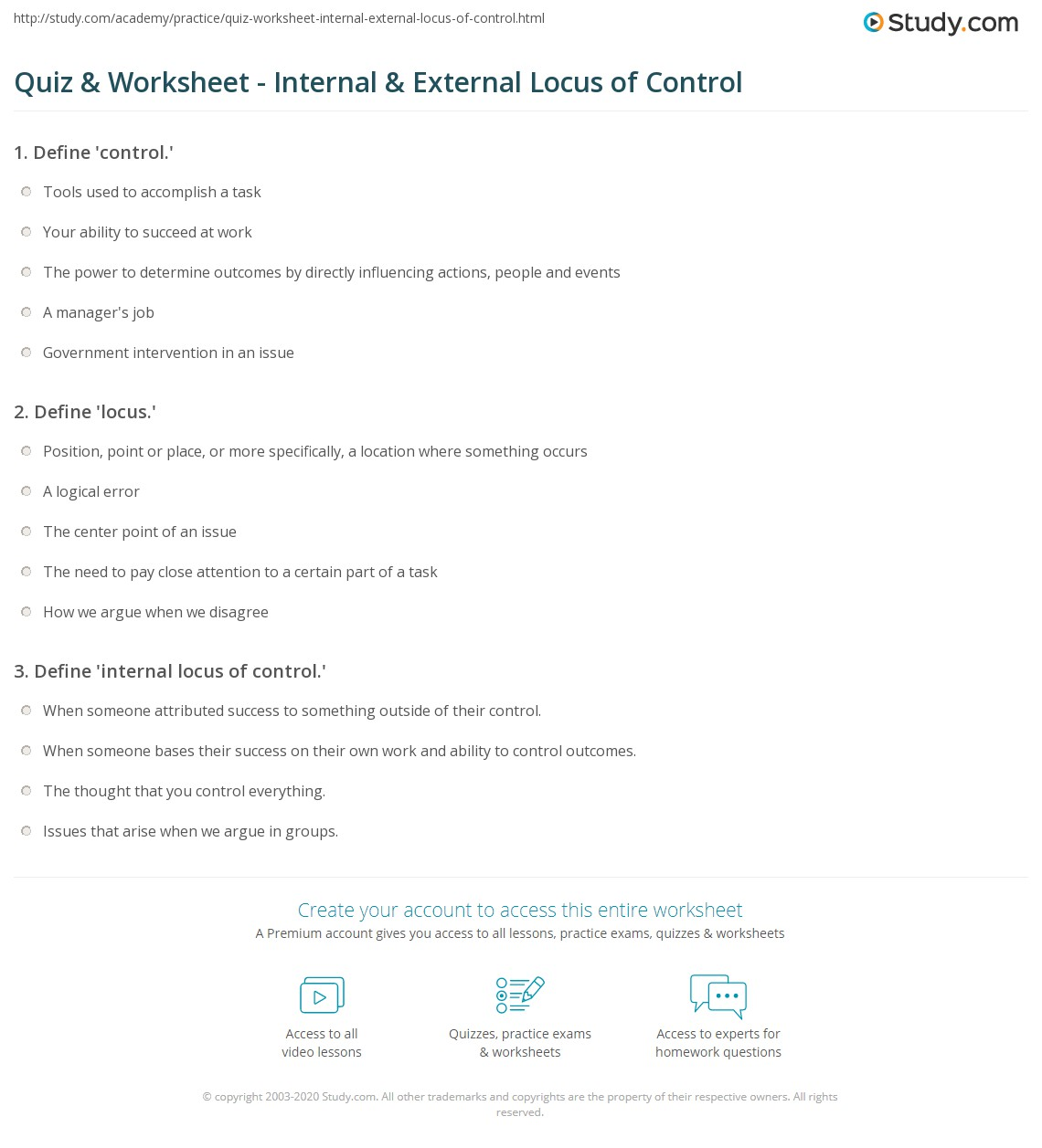 Locus Of Control Worksheets