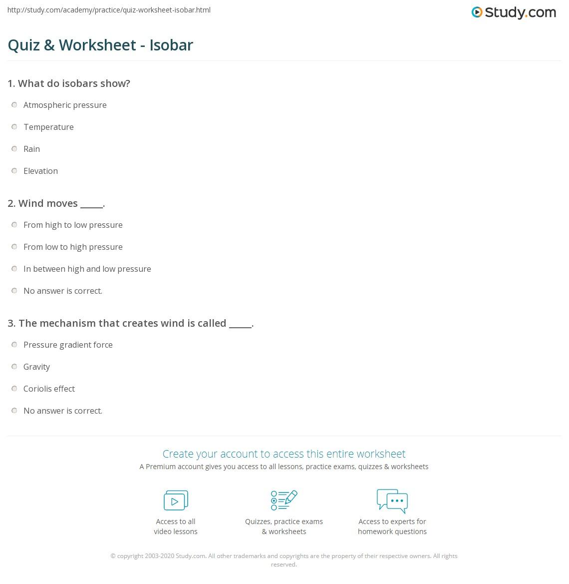 Atmosphere Worksheet Quizzes