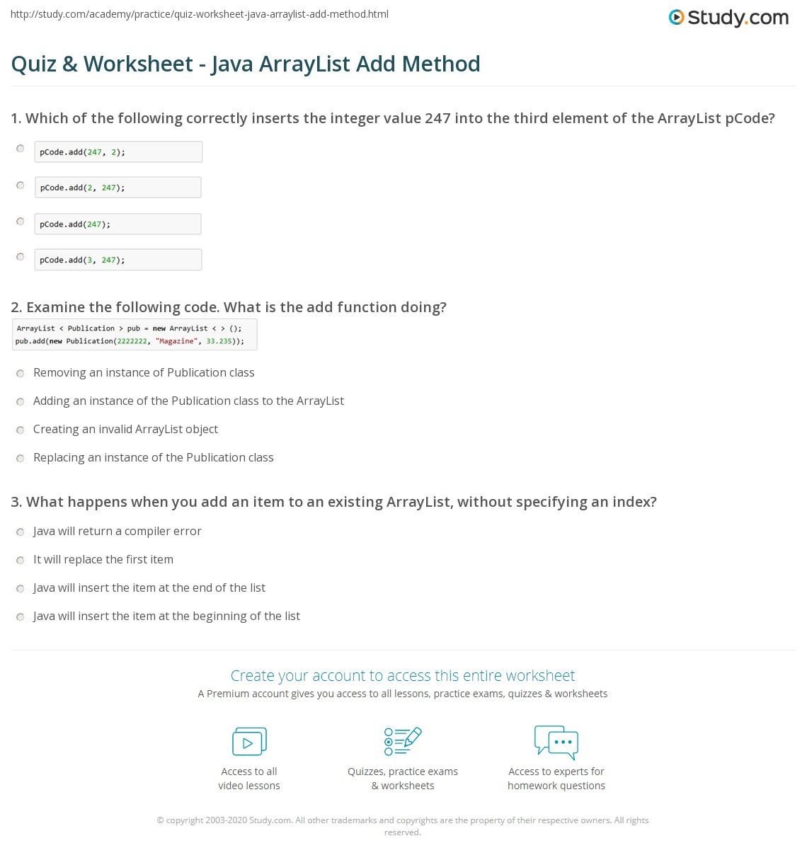 Java Methods Worksheet