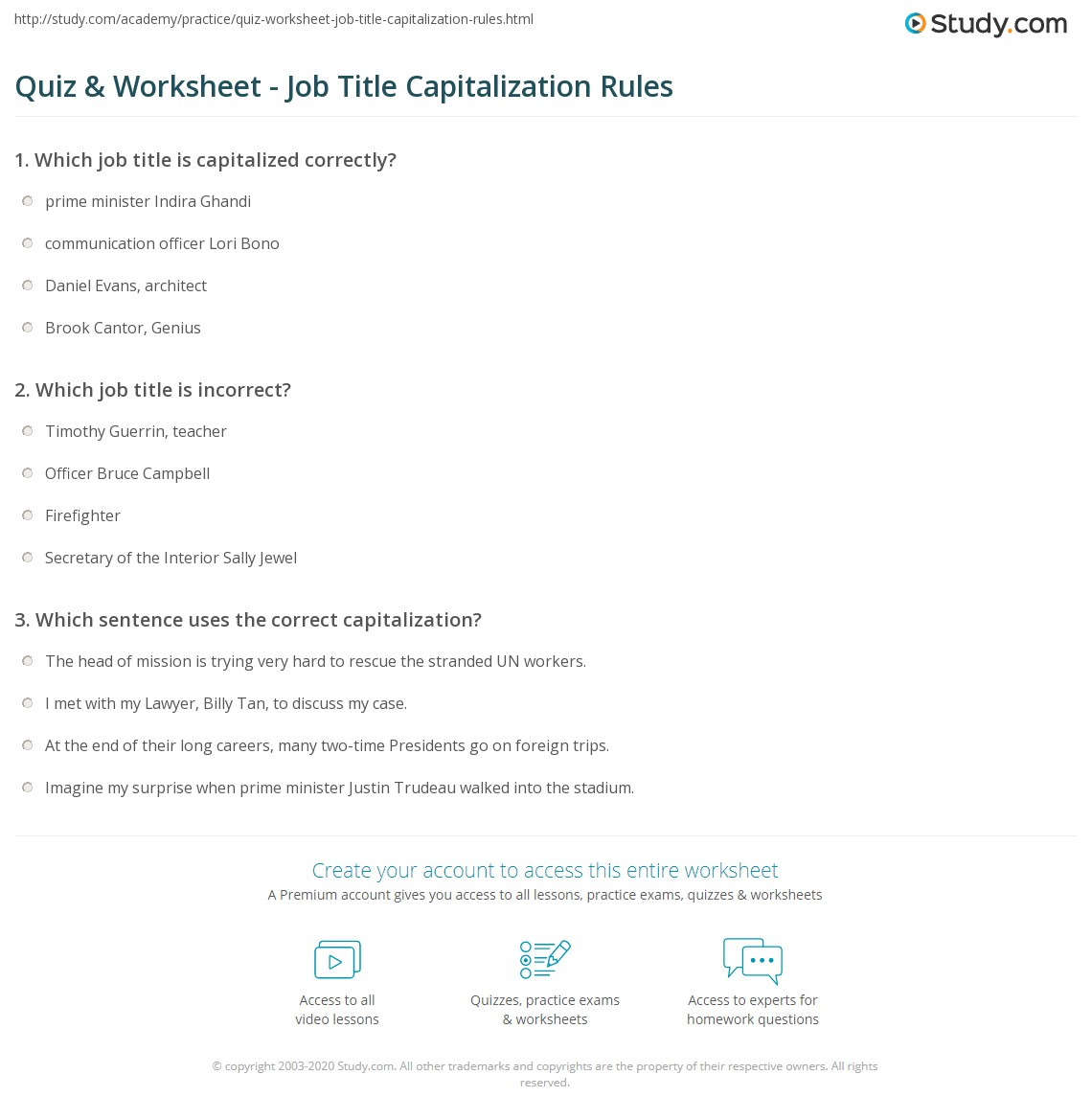 Titles Capitalization Worksheet
