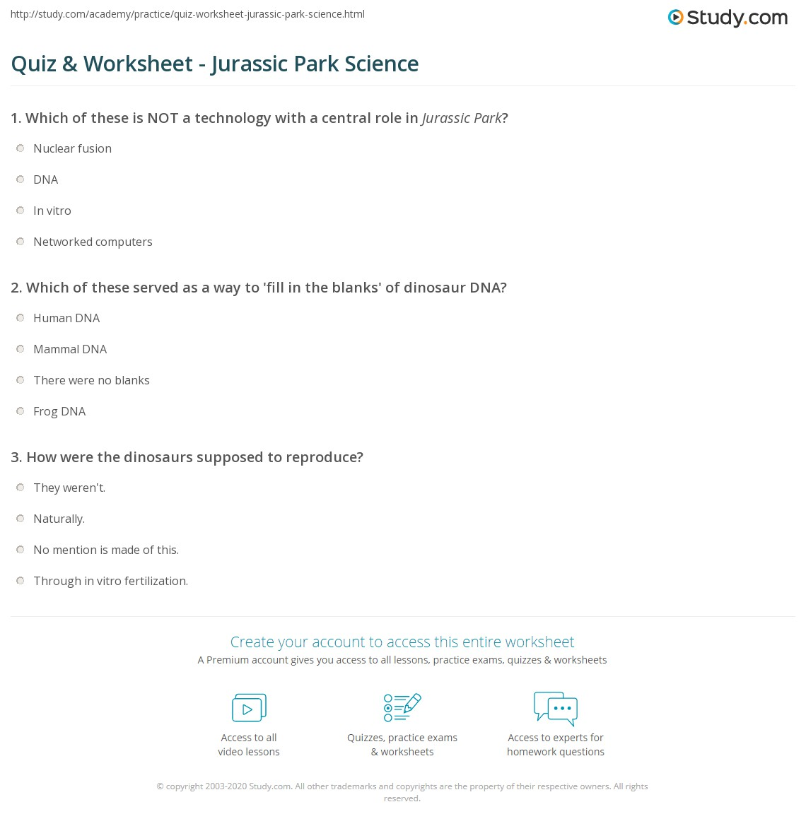 Printables Of Jurassic Park Worksheet Answer Key