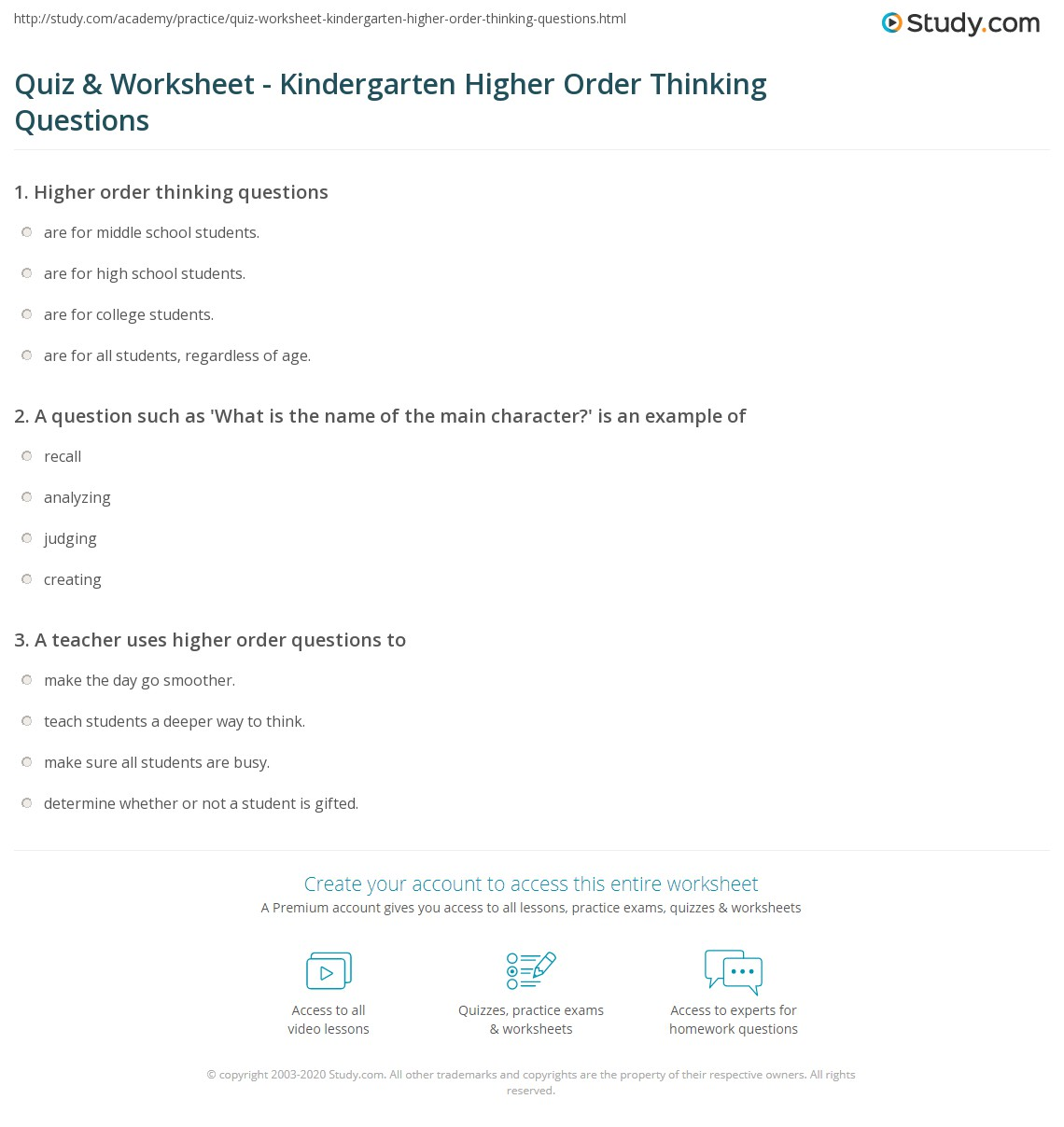 Higher Order Thinking Worksheet