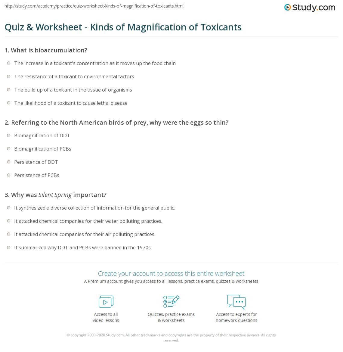 Biomagnification Worksheet