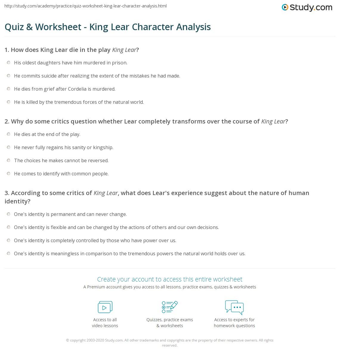 Quiz W Ksheet K G Le R Ch R Cter N Lysis Study