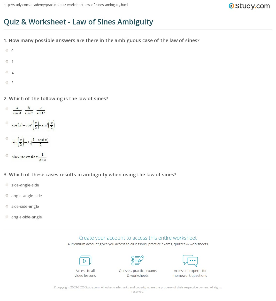 Accelerated Math 3 Law Of Sines Worksheet Answers