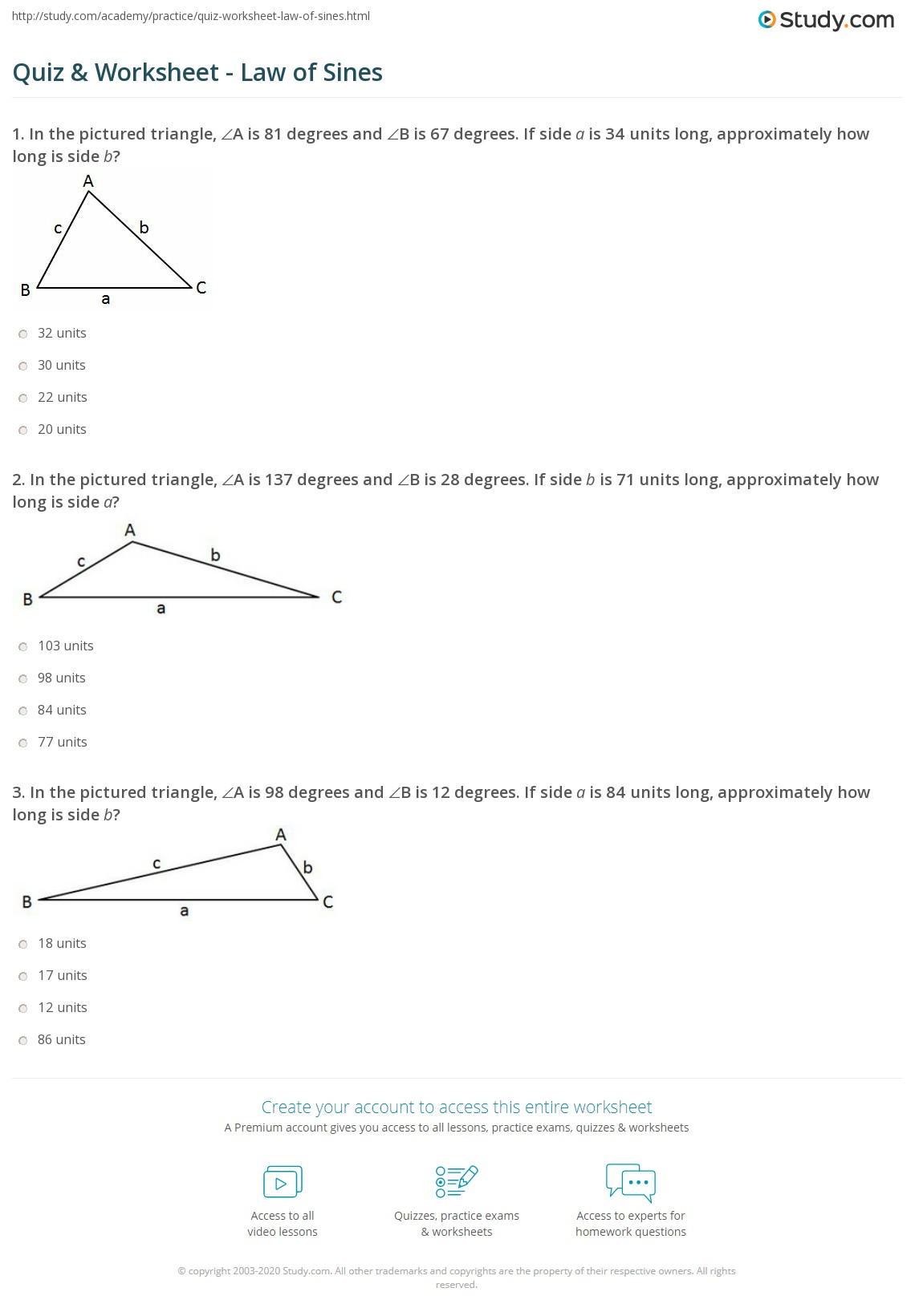 Law Of Sines Worksheet Geometry