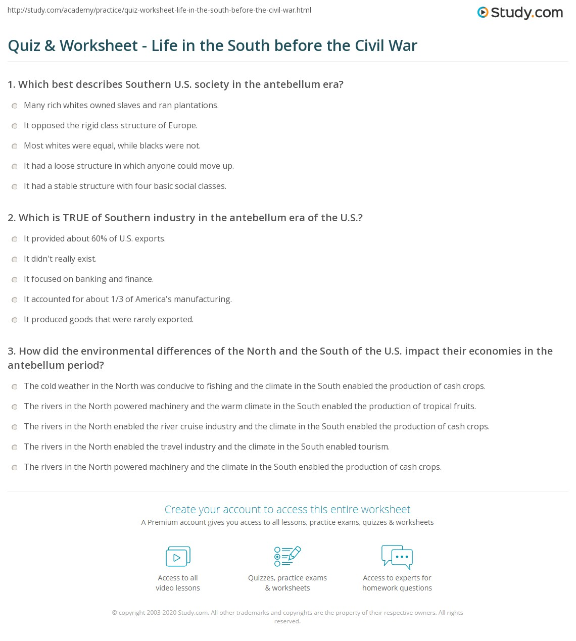 Southern Society Worksheet Answers