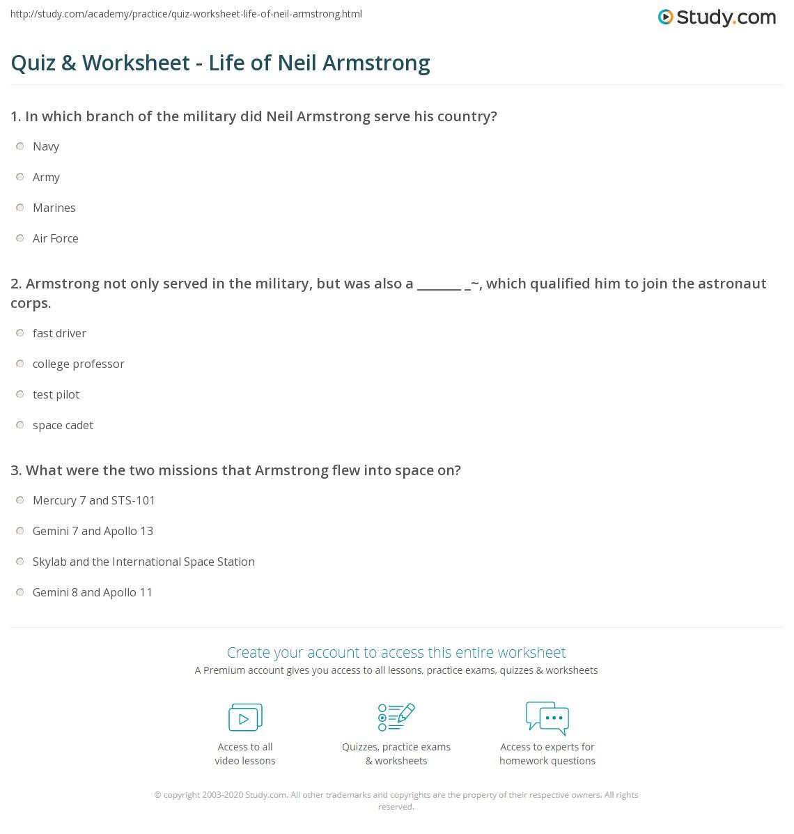 Worksheet Neil Armstrong