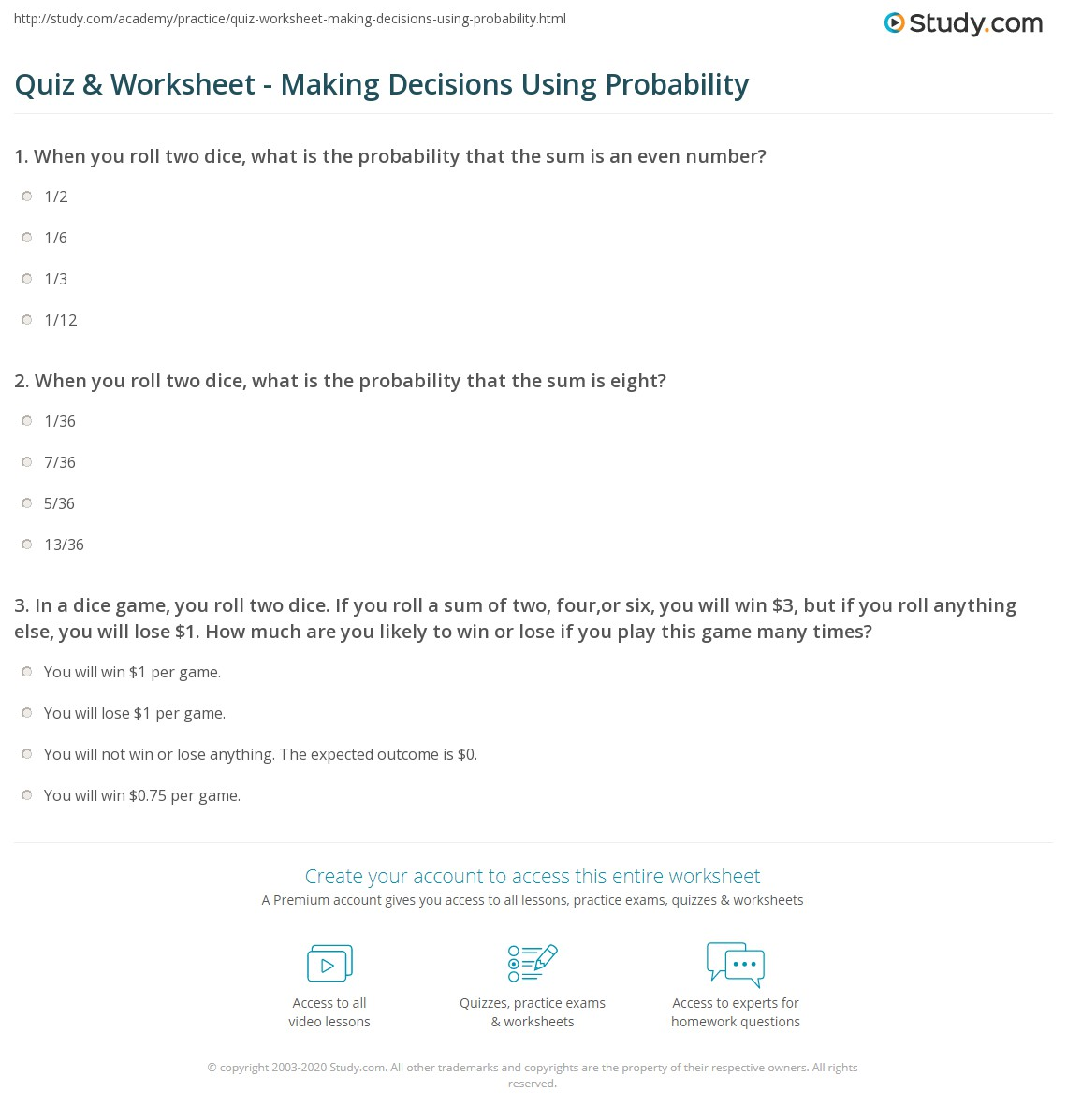 34 Sum Of Two Dice Probability Worksheet Answers