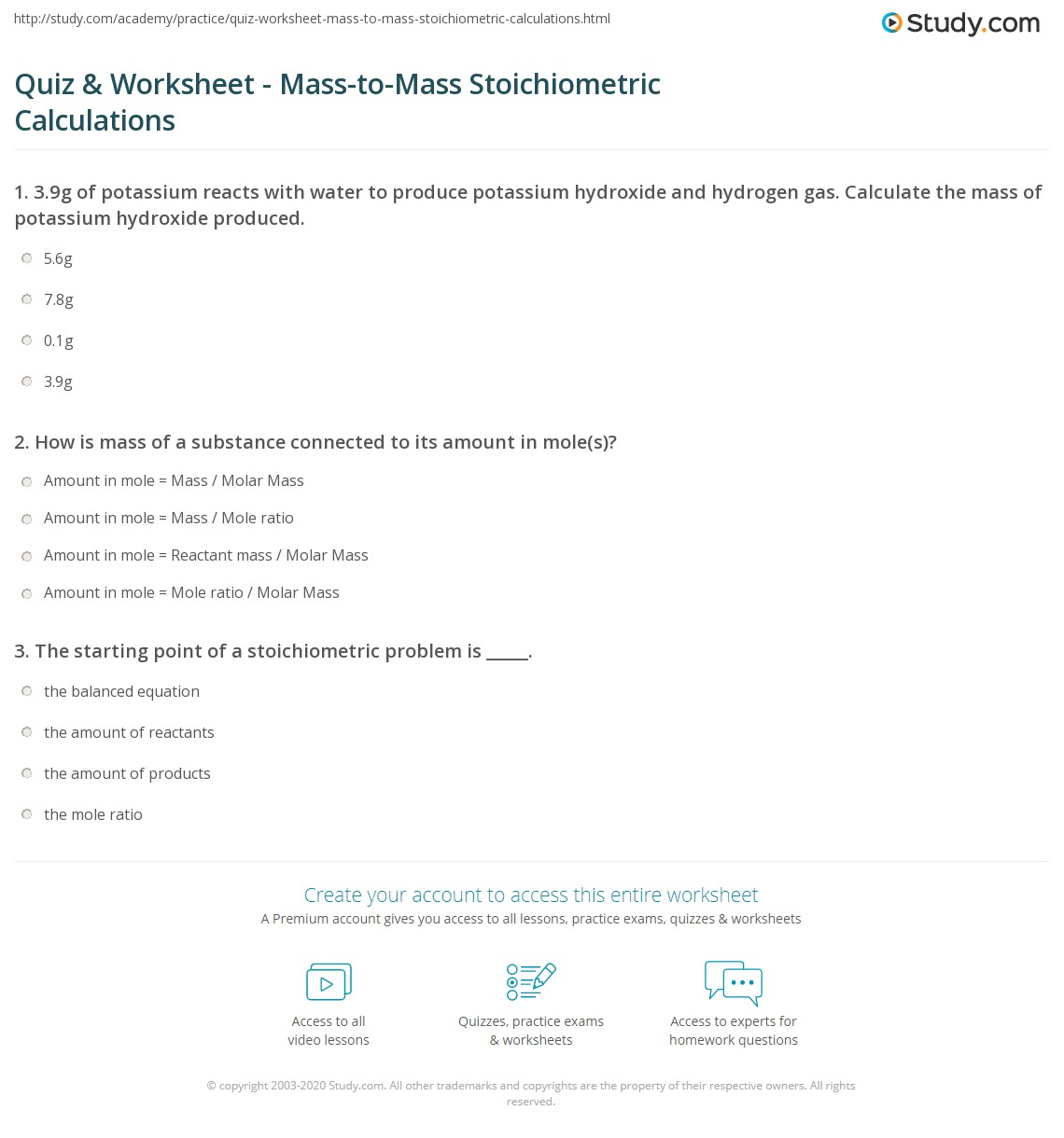 Stoichiometry Worksheet Answer Key