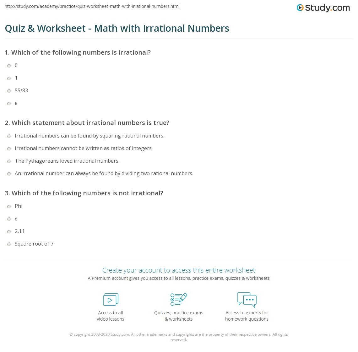 Rational Vs Irrational Thoughts Worksheet