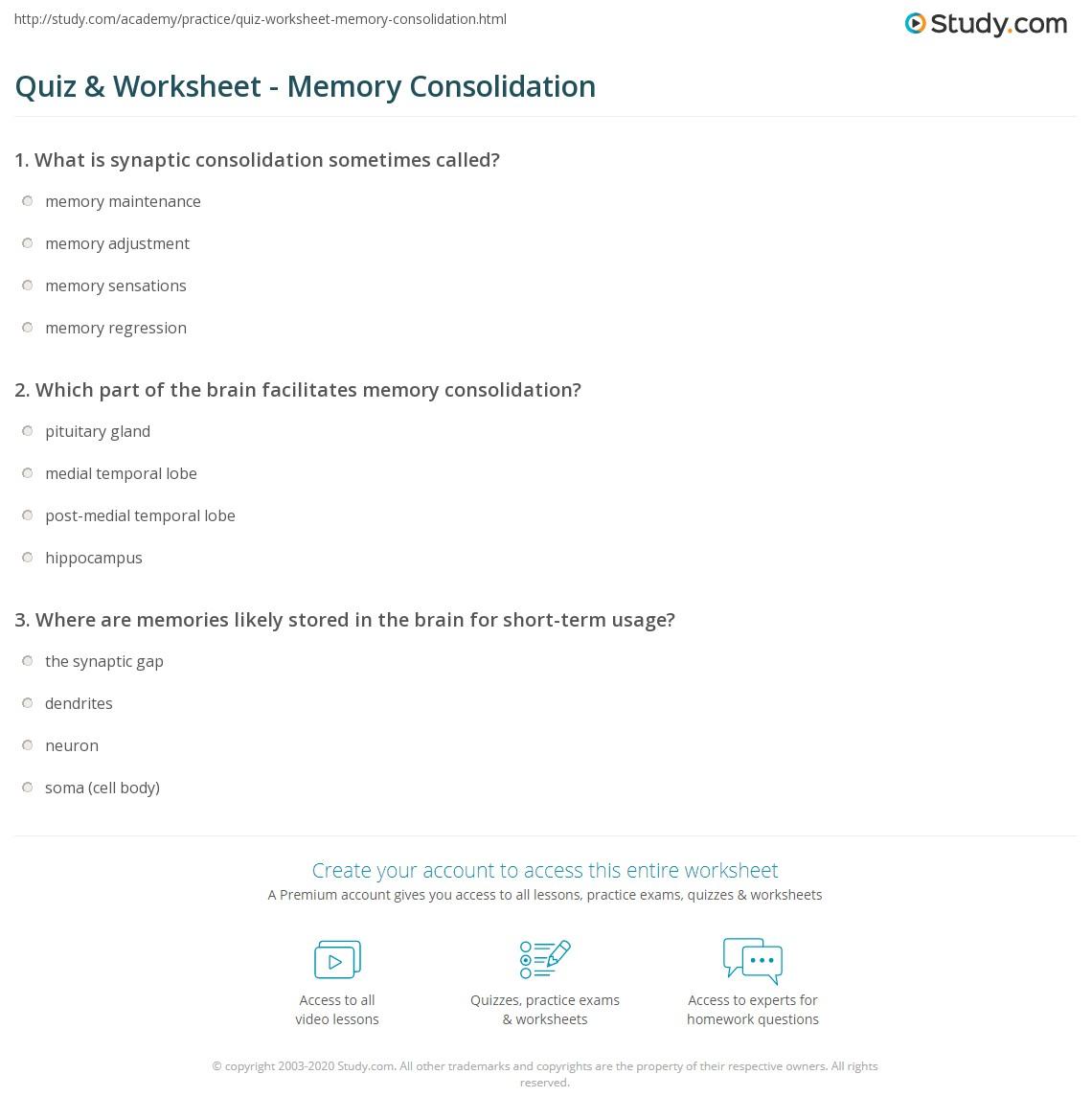 Memory Techniques Worksheet
